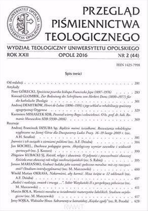 Obrazek Przegląd Piśmiennictwa Teologicznego nr2 (44) 2016